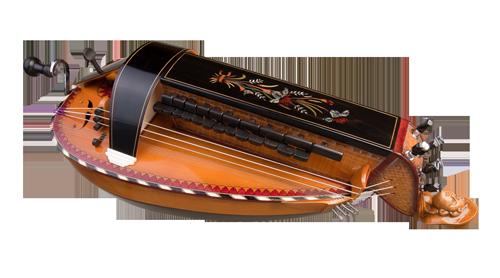 vielle à roue ronde 3 chanterelles - décor n°2 -  Atelier Boudet